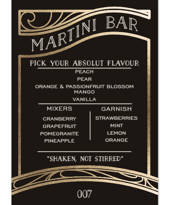 Martini Bar Menu
