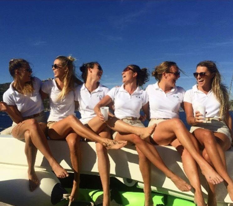 Stewardess Chief Stew Uniform Yachting Yachtie Females Laughing